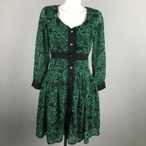 eShakti Green Black Forest Animal Print Dress